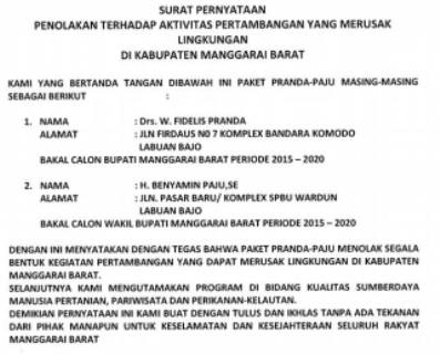 Cuplikan surat pernyataan pasangan bakal calon bupati Manggarai Barat, Fidelis Pranda-Benyamin Paju yang menolak aktifitas pertambangan.