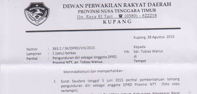 Cuplikan surat pimpinan DPRD NTT tentang pengunduran diri Tobias Wanus