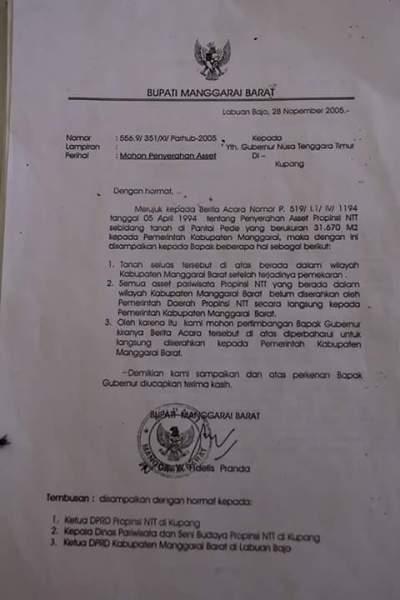 Salah satu surat Fidelis Pranda yang meminta aset Pantai Pede diserahkan ke pemerintah Kabupaten Manggarai Barat (Foto: Dokumen Floresa)